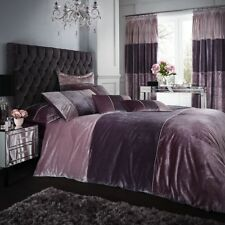 Catherine Lansfield Velvet Bands Duvet Quilt Cover Set - Heather Pink
