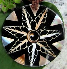 Mother of Pearl Shell Shiva Eye Pendant Black Beige Circle with Chain
