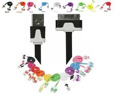 USB CHARGER CABLE COLOR for iPhone 4 4S 3GS iPad iPod Flat