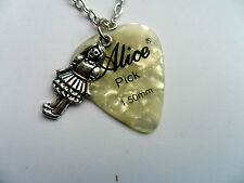 Alice in Wonderland Charm and  ALICE Guitar Pick  Silver Necklace Six to Choose