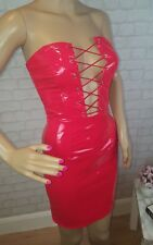 Red PVC wetlook lace up bustier bube tube mini dress celeb inspired