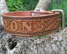 The Baron - Personalized Western Basket Weave Leather Dog Collar