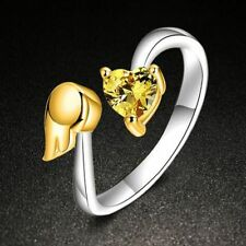 Opening Fashion Adjustable Size Love Heart Ring Adjustable Ring Angel Wings