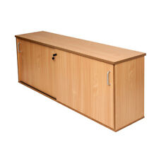 Office Lockable Credenza Sliding Door Buffet Unit 1800mm or 1200mm Beech & White