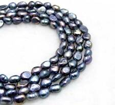 SALE 6-7mm black Baroque Natural Freshwater Pearl Loose beads strands 14''  -775