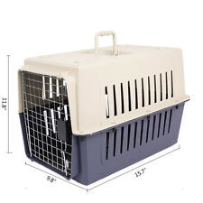 16In Small Cat & Dog Travel Portable Plastic Crate Pet Carrier Box