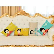 The Beatles Ribbon Faces Retro Music Pop-Art Throw Cushion Pillow Cover Gift Set