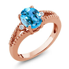 1.85 Ct Oval Swiss Blue Topaz White Topaz 18K Rose Gold Plated Silver Ring