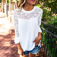 Casual Chiffon Lace Spliced Long Sleeve Top Women's Floral Laced Blouse White