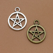 PENTAGRAM PENTACLE WICCAN PAGAN Small Tibetan Silver 3D Charms Pendants Beads