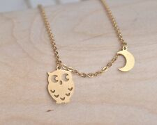 Silver Gold Rose Plated Night Owl & Moon Necklace Small Pendant in Gift Bag/Box
