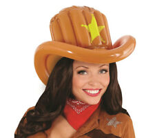 Inflatable Brown Cowboy Hat Blow Up Wild West Sherriff Fancy Dress Party Hat