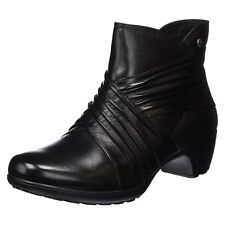 Romika Banja 05 Black Womens Leather Pleated Details Zip up Ankle Boots Booties