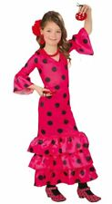 Girls Flamenco Costume Red & Black Polka Dot Fancy Dress Spanish Outfit Age 3-12