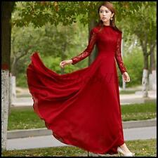 Womens Long sleeve Lace Party Cocktail Ball Gown Retro Maxi Evening Swing Dress