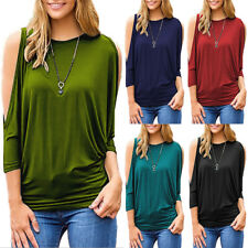 Long Sleeves Cold Shoulder Round Neck Loose Batwing Blouse Solid Colors Shirts