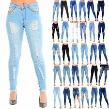 Womens Ladies Faded Whiskers Denim Ripped Frayed Hem Skinny Pants Trousers Jeans