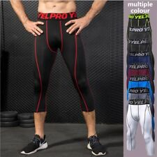 Gym Men's Compression Under Layer Sports Cropped Pants Athletic Tights Trousers