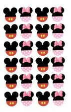 EDIBLE IMAGE~YOU CHOOSE~24 MINNIE & / OR  MICKEY MOUSE CUPCAKE TOPPERS