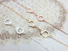 New Silver Rose Gold & Gold Plated Handcuff Entwined Locks Necklace Choker Chain