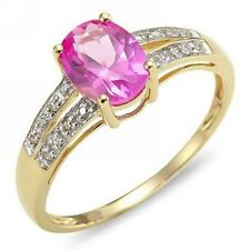 Womens Size 6-9 Cute Pink Sapphire 18K Gold Filled Fashion Jewelry Party Ring Gi