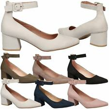 Annalise Womens Low Mid Block Heel Ankle Strap Court Shoes Ladies Pumps Size New