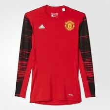 adidas MANCHESTER UNITED TECHFIT LONG SLEEVE T SHIRT RED CLIMALITE MAN UTD