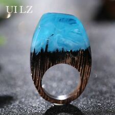 Handmade Rings for Women Blue Resin New Arrival Exquisite Wooden Fashion Jewelry