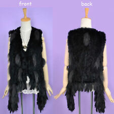 100% Real Knitted Rabbit Fur Vest Gilet Women Waistcoat Raccoon Tassel Jacket