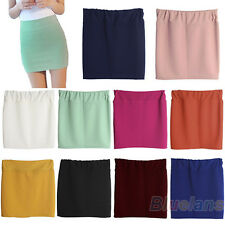 AU_ Solid Color Seamless Stretch Tight Short Fitted Bodycon Clubwear Mini Skirt