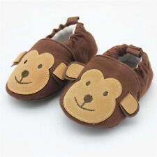 NEW Baby Boy Girl Monbey Brown First Walker Soft Sole Crib Shoes Slippers