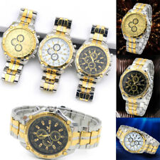 3 Colors Dial Luxury Mens Stainless Steel Watch Analog Quartz Casual Wrist Watch