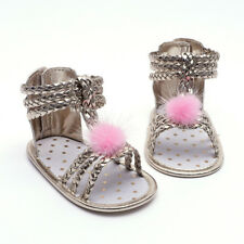 Newborn Baby Girl Anti-slip Crib Sandals Shoes Pu Leather Soft Sole Prewalker