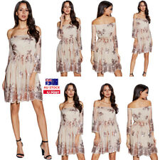 Women Summer Floral 3/4 Sleeve Off Shoulder Swing Mini Dress Beach Party Casual