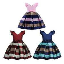 Girls Sleeveless Formal Dress Striped Skirt Pageant Party Dress 2-12 Years