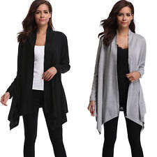 Lady Long Sleeve Cardigan Thin Irregular  Drape Front Open Lightweight Coat