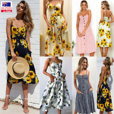 Women Summer Floral Button Sling Backless Swing Dress Party Beach Holiday Skirt