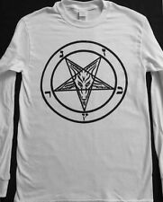 PENTAGRAM White Long Sleeve T shirt Satanic occult EVIL SMALL - XL FREE SHIPPING