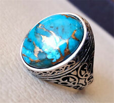 Unisex Copper Blue Turquoise 925 Silver Filled Ring Wedding Engagement Size 6-10