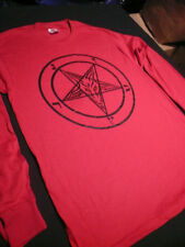 PENTAGRAM T Shirt red Long Sleeve Satanic occult satan SMALL - XL FREE SHIPPING