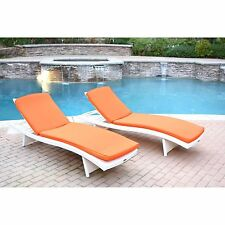 2 Piece Orange Cushion Resin Wicker Chaise Lounge Set Home Outdoors Furniture