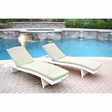 2 Piece Beige Cushion Resin Wicker Chaise Lounge Set Home Outdoors Furniture