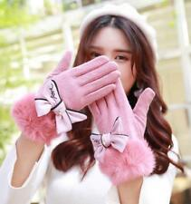 Gloves Angora Wool Women Winter Bow Knot Lace Rabbit Fur Cashmere Touch Screen