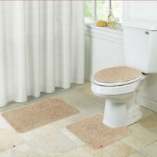 3 Piece Bathroom Rug Set, Bath Mat, Contour Rug, Toilet Lid Cover