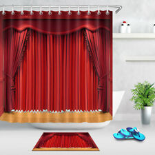 Ornate Red Curtains Shower Curtain Liner Bathroom Polyester Fabric & Hooks 180cm