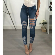 Sexy Womens Ripped Skinny Jeans Stretch Denim Pants Distressed Plus Size