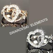 9ct 9K White / Rose Gold Filled Ring made with Swarovski Crystal Brithday R115