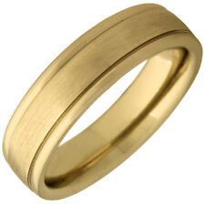 14K Yellow Gold Brushed Plain Modern Wedding Band (7mm)