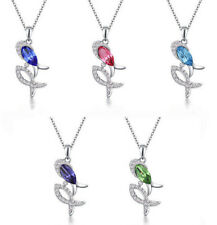 Women Jewelry Crystal Rhinestone Double Fish Charm Silver Pendant Necklace NEW