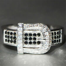New Fashion 925 Silver Black Topaz Ring Wedding Engagement Jewelry Gift Size6-10